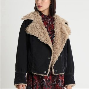 "Free People ""Owen"" Denim Moto Faux Fur Collar"